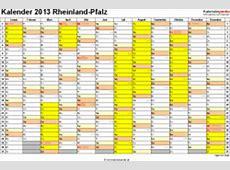 Kalender 2013 RheinlandPfalz Ferien, Feiertage, Excel