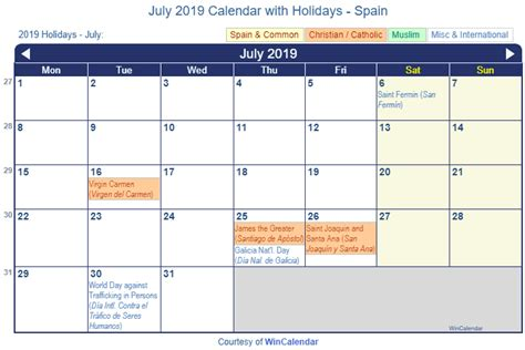 print friendly july  spain calendar  printing