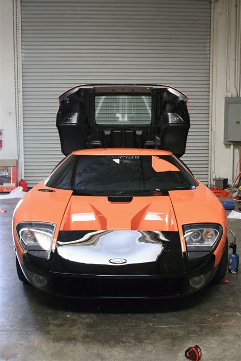 ford gt custom orange car wrap los angeles ca