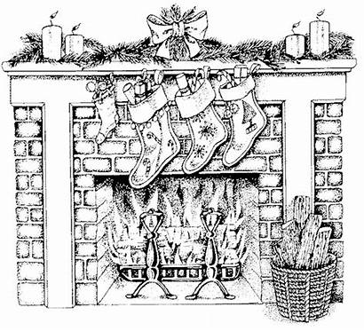 Coloring Fireplace Christmas Pages Hard Adult Printable