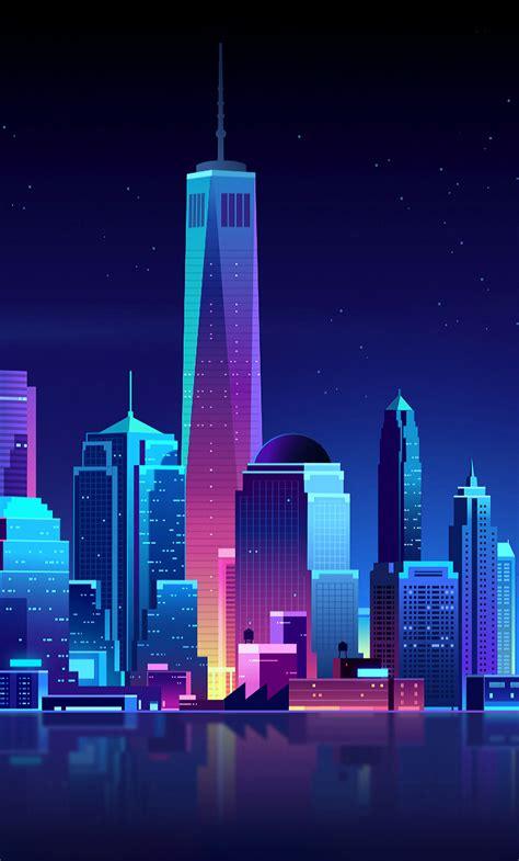 york buildings city night minimalism iphone
