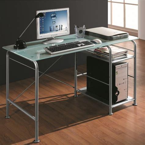 Scrivania Per Pc by Scrivania Per Pc Office In Metallo E Vetro Satinato