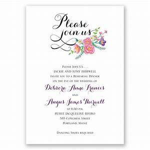 floral typography rehearsal dinner invitation With samples of wedding rehearsal dinner invitations