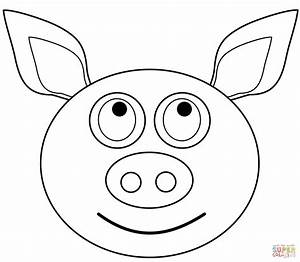 Cartoon Pig Head Coloring Page - Pig Face Coloring Pages ...