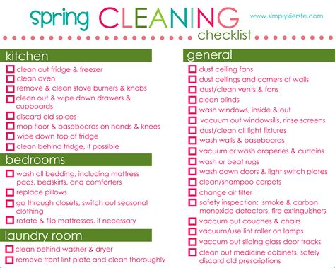 cleaning list spring cleaning checklist tips free printable simplykierste com