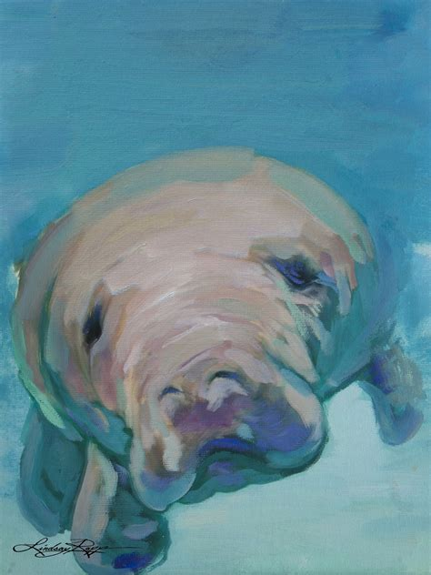 Manatee Art I Love Manatee Sea Turtle Art Painting