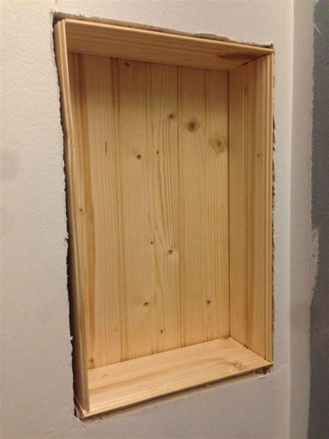 recessed wall cabinet between studs build a storage shelf in the wall save counter space