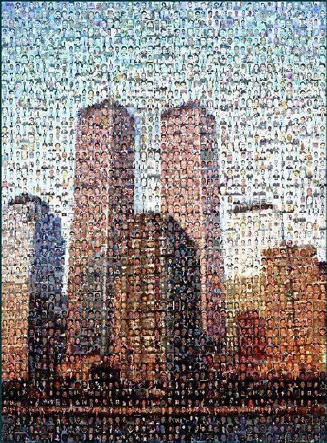 A Portrait Of The Twin Towers In Nyc Made With The Faces