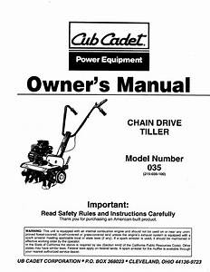 Cub Cadet Tiller 35 User Guide