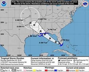 Tropical Storm Gordon Path  Florida And Us Gulf Coast On