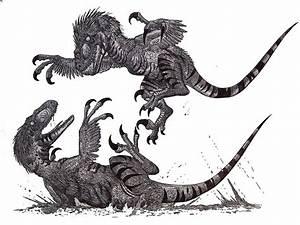 Deinonychus fight II by HodariNundu on DeviantArt