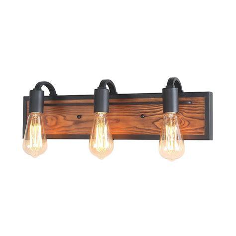 Rustic Bathroom Vanity Light Fixtures by Lnc 3 Light Black Rustic Bathroom Lighting Wood Wall