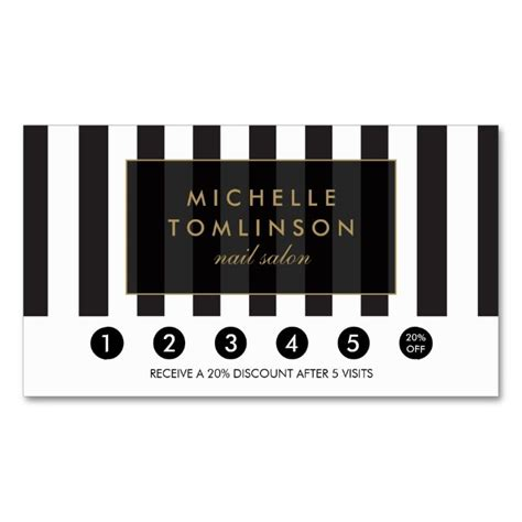 black  white stripes salon loyalty card zazzlecom