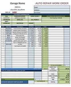 vehicle repair order template