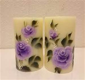 17 best images about hand painted candles on pinterest With what kind of paint to use on kitchen cabinets for wood carved candle holders