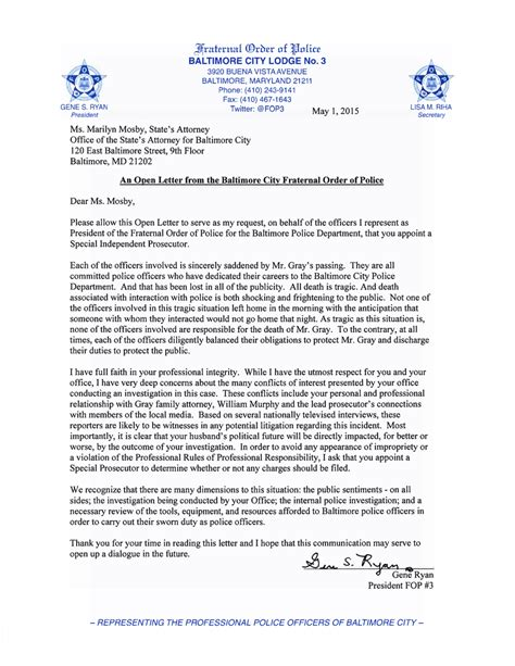 baltimore city fop  twitter  open letter  states
