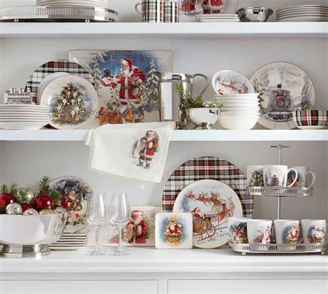 nostalgic santa  piece dinnerware set pottery barn