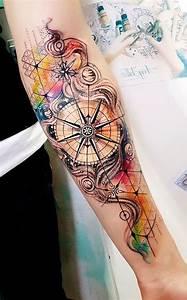 Idée De Tatouage Femme : watercolor compass inner forearm tattoo ideas for women ~ Melissatoandfro.com Idées de Décoration