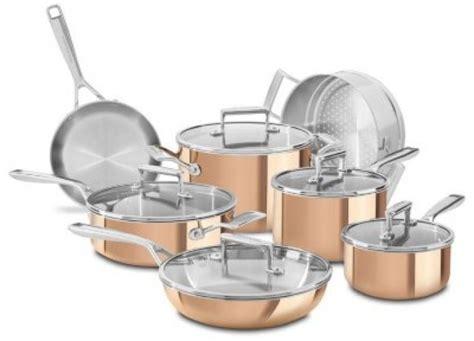 kitchenaid tri ply copper  piece cookware set kitchen aid cooking pots pans cooking pots
