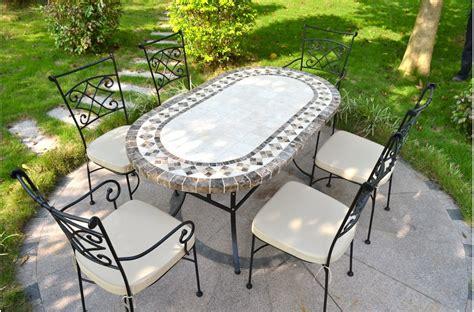 OVALI Table mosau00efque de jardin 240-180-160cm ovale en marbre et travertin