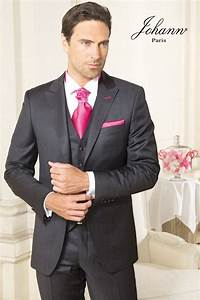 Costume 3 Pièces Gris : johann costume gris anthracite satin et rose strawberry ~ Dallasstarsshop.com Idées de Décoration