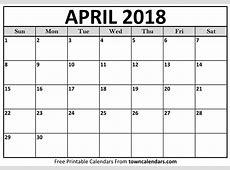 April 2018 Calendar Printable Template with Holidays PDF