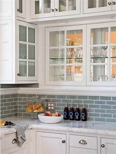 white cabinets with frosted glass blue subway tile With kitchen back splashes with blue