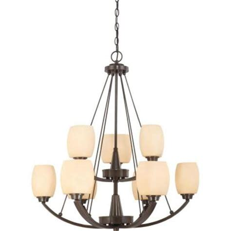 two tier l shade glomar 9 light vintage bronze two tier chandelier with
