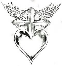 Heart with Wings and Cross Drawings