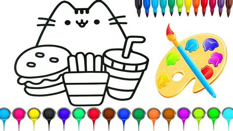 Fun Coloring For Kids With Cute Cat Burger French Fries