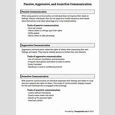 Passive, Aggressive, And Assertive Communication (worksheet  Counseling Helps Assertive