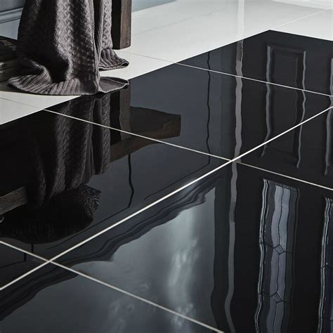 livourne black plain porcelain floor tile pack