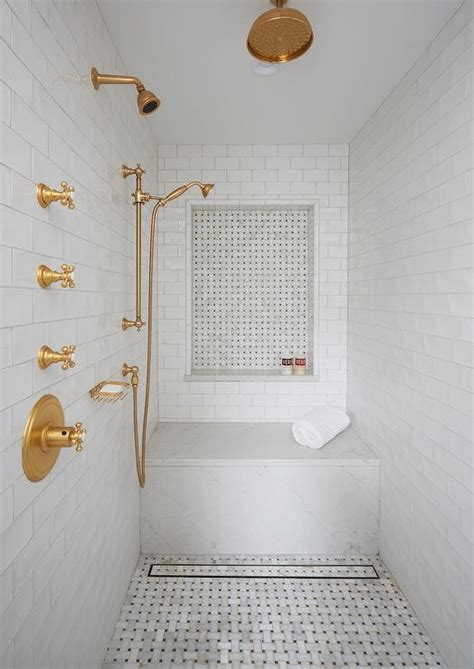 Gray Marble Slab Shower Surround with Long Floating Shower