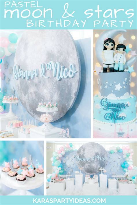Kara's Party Ideas Pastel Moon & Stars Birthday Party ...