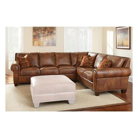 2 Piece Leather Sectional In Metamorphosis Camel