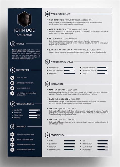 Free Unique Resume Designs by 10 Best Free Resume Cv Templates In Ai Indesign Word
