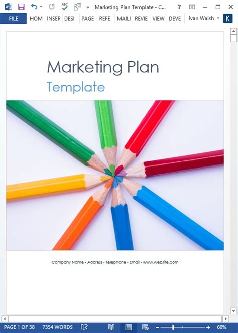 marketing plan template  page ms word template
