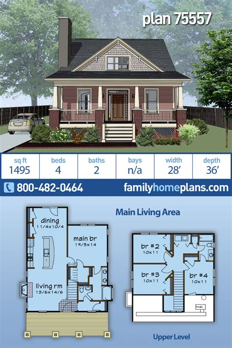 Craftsman Style House Plan 75557 with 4 Bed 2 Bath in