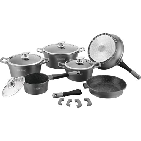royalty   piece marble coated cookware set  induction bottoms  options