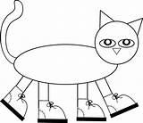 Pete Cat Coloring Preschool Books Clip Printables Reading sketch template