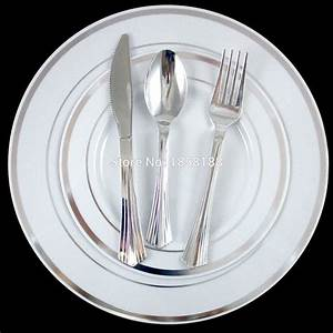 60 People Dinner Wedding Tableware Disposable Plastic