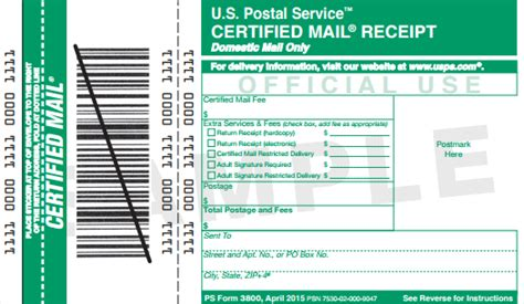usps certified mail cost and return receipt