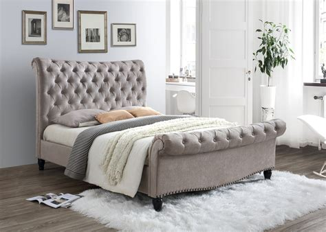 Fabric King Bed Frame by Limelight Larrisa Mink Velvet Fabric Bed Frame From The