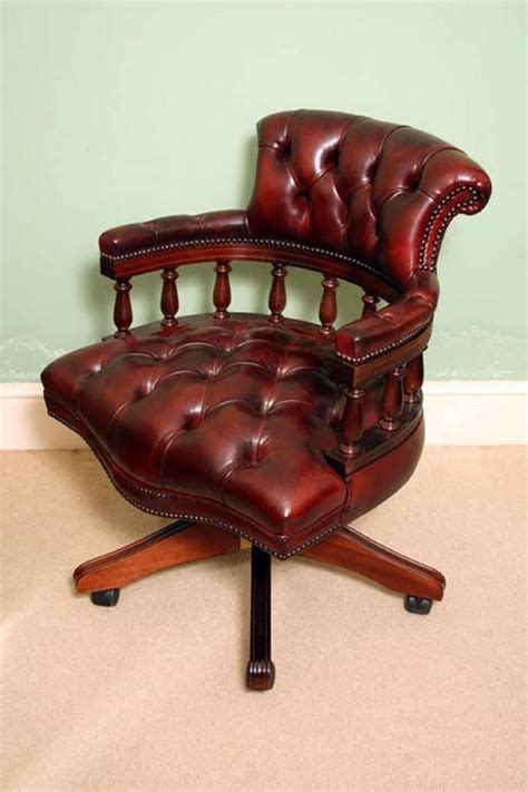 handmade leather captains desk chair ox blood for
