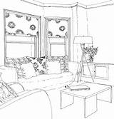 Drawing Lounge Interior Perspective Sketches Sketch Rendering Coloring Storey Inside Outline sketch template