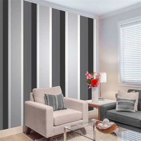 stripe wallpaper bold charcoal grey black white silver