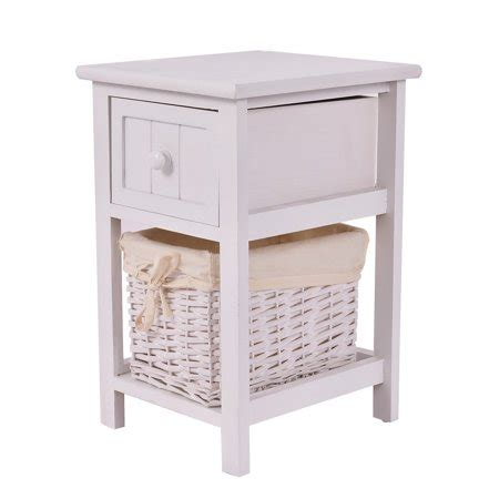 Nightstand With Baskets by Wooden 2 Layer Bedside End Table Nightstand With Basket