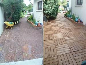 resolu terrasse en dalles de bois sur lit de sable With terrasse bois sur sable