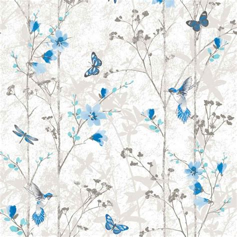 blue flowers  butterflies shabby chic wallpaper