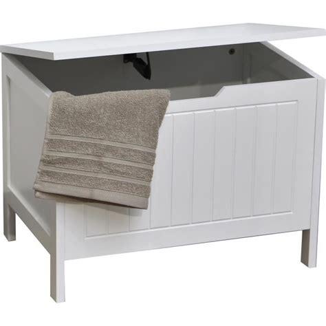 coffre a linge en bois de rangement coffre 224 linge en bois style moderne blanc blanc achat vente
